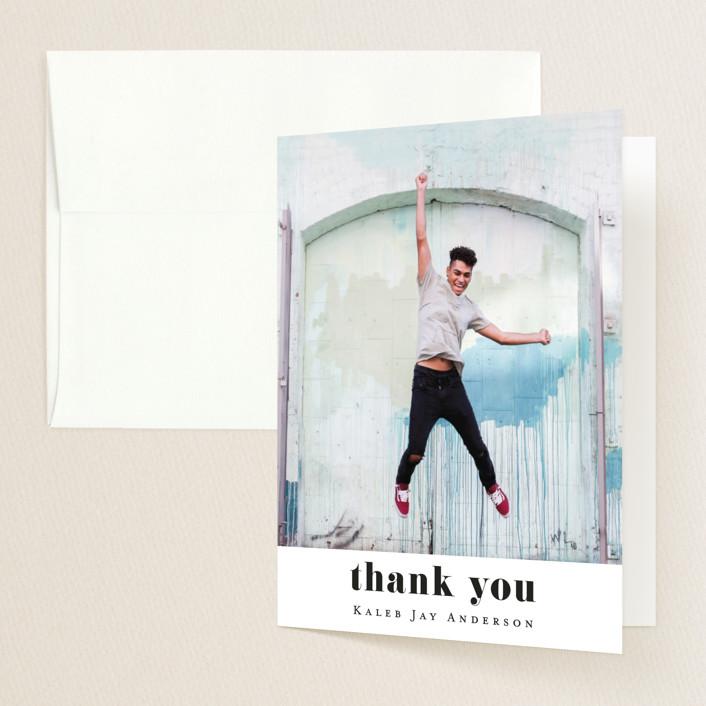 """Hooray"" - Graduation Thank You Cards in Cloud by Kasia Labocki."