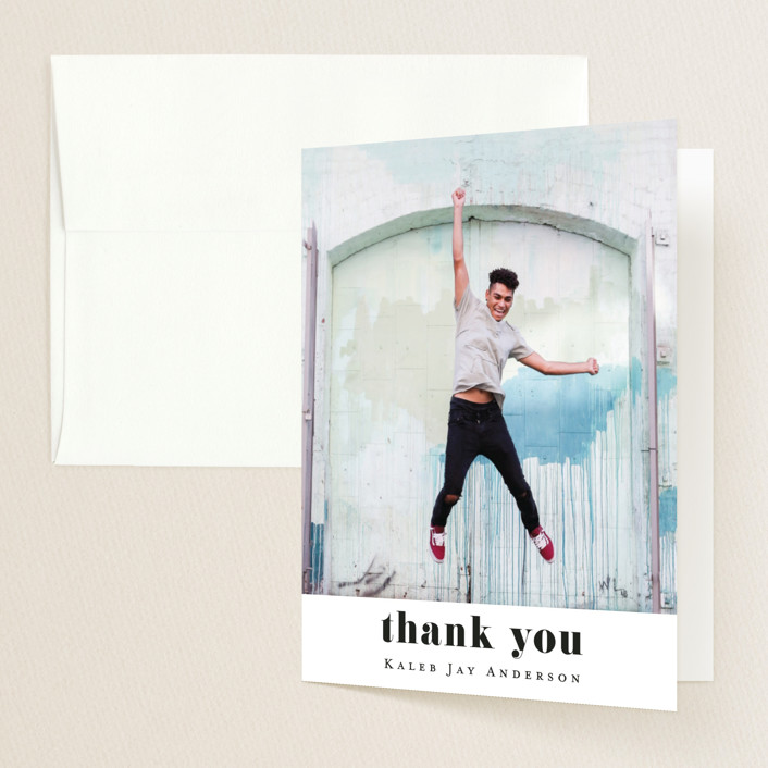 """Hooray"" - Graduation Thank You Cards in Cloud by Kasia Labocki."