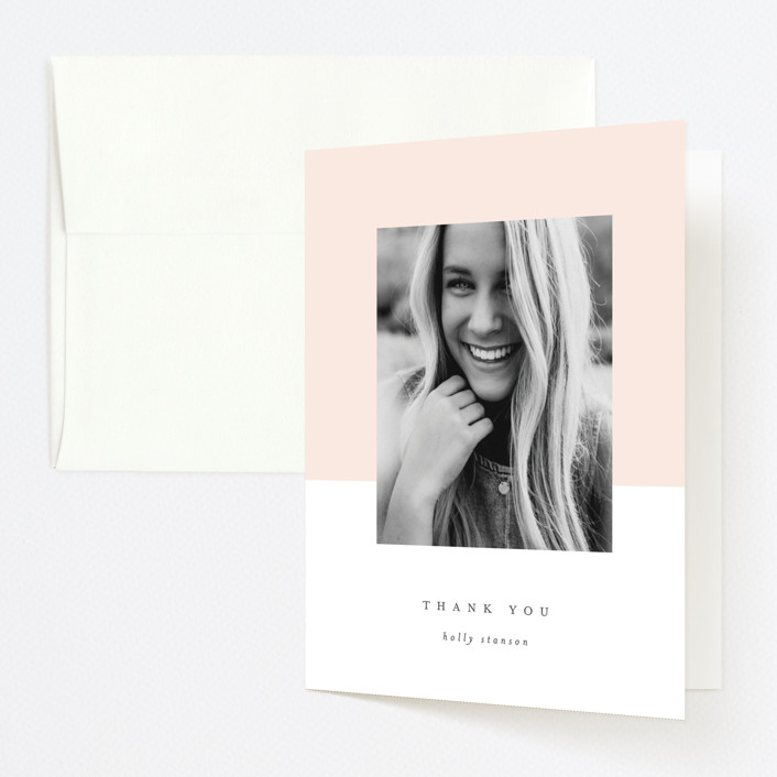 """ClassGrad"" - Modern Graduation Thank You Cards in Blush by Lori Wemple."
