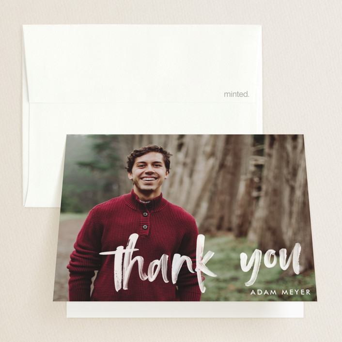 """""""Modern Brush Graduate"""" - Modern Graduation Thank You Cards in Pearl by Paper Dahlia."""