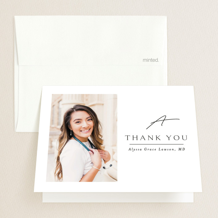 """""""Traditionally Mod"""" - Graduation Thank You Cards in Opal by Kristel Torralba."""