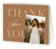 This is a brown graduation thank you card by Lauren Chism called Tilt with standard printing on strathmore in standard.