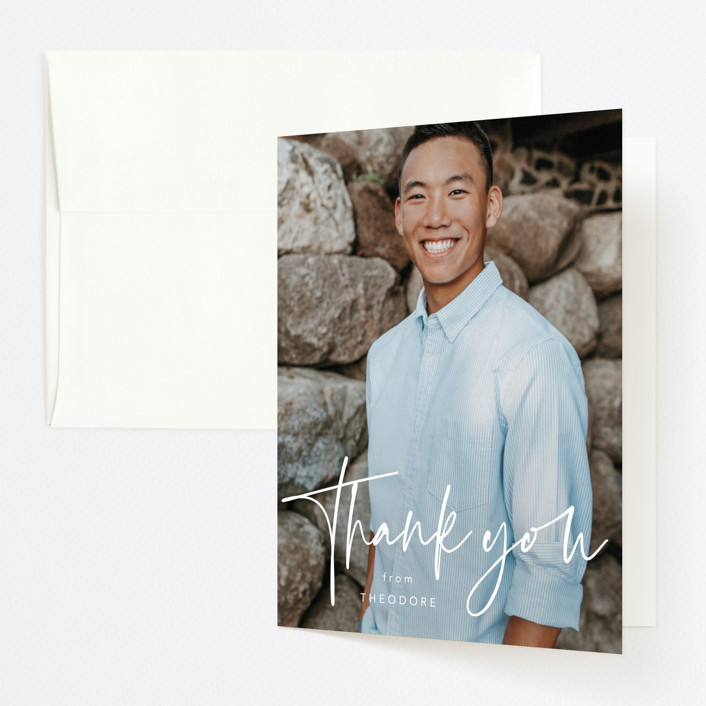 """""""One and done"""" - Funny, Preppy Graduation Thank You Cards in Jeans by Lea Delaveris."""