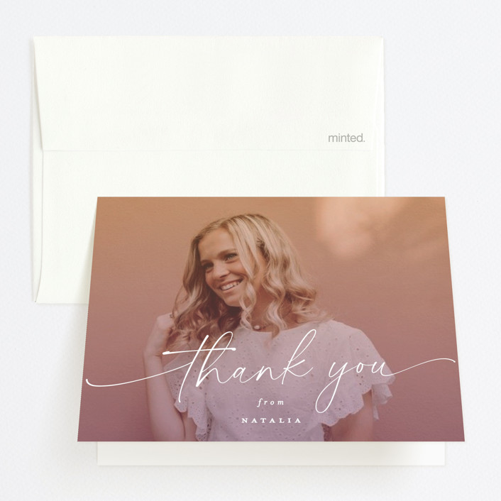 """Poetic"" - Graduation Thank You Cards in Sunset by Everett Paper Goods."