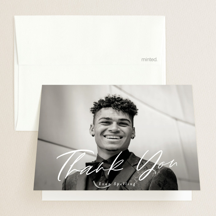 """""""Scripted Future"""" - Graduation Thank You Cards in Powder by Pink House Press."""