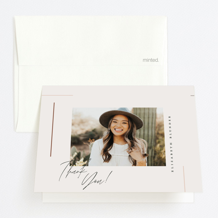 """""""Aligned"""" - Graduation Thank You Cards in Desert Rose by Carolyn Nicks."""