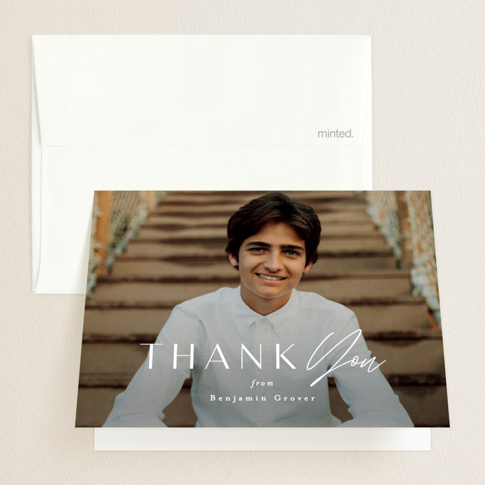 """Intrepid"" - Graduation Thank You Cards in Powder by Everett Paper Goods."