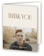This is a brown graduation thank you card by Christopher Morben called To Bigger & Brighter with standard printing on strathmore in standard.