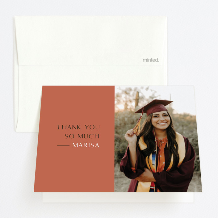 """""""Destination"""" - Funny, Modern Graduation Thank You Cards in Faded Rust by Up Up Creative."""