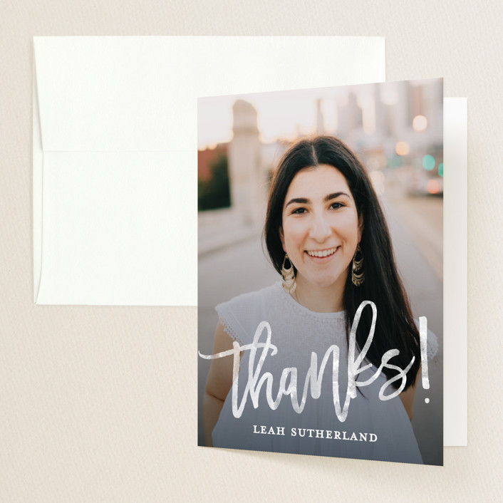 """""""Modern Ombre"""" - Graduation Thank You Cards in Slate by Paper Dahlia."""