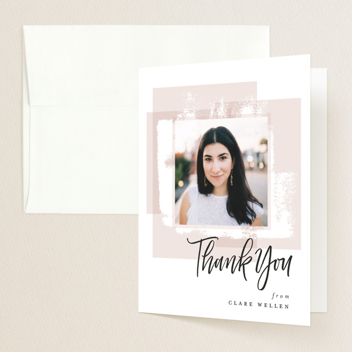 """""""Light and Airy Grad"""" - Graduation Thank You Cards in Blush by Erin German Design."""