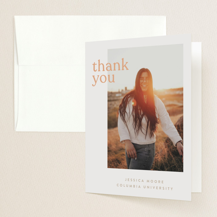 """Layered"" - Funny, Modern Graduation Thank You Cards in Peach by JoAnn Jinks."