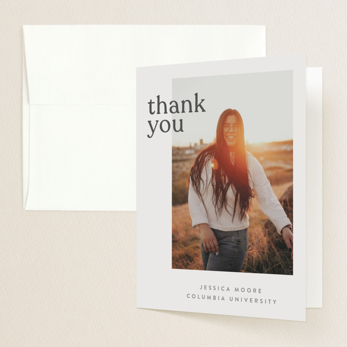 """""""Layered"""" - Funny, Modern Graduation Thank You Cards in Peach by JoAnn Jinks."""