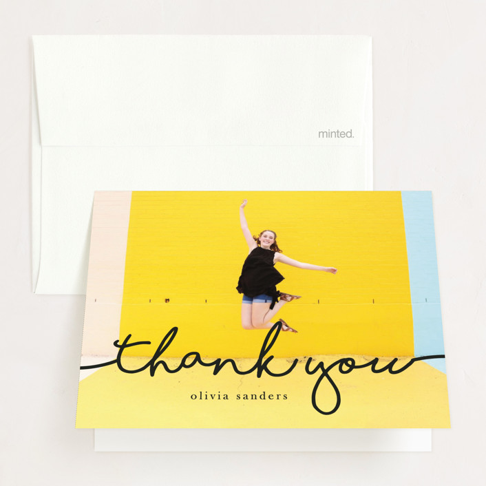 """""""The Stylish, Mature Graduate"""" - Graduation Thank You Cards in Black Olive by Metro-Events."""