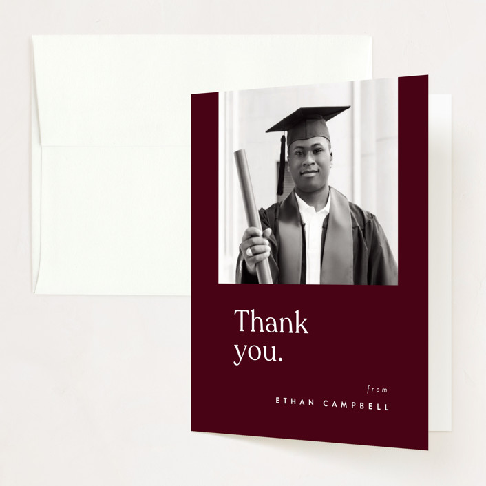 """""""For the Books"""" - Funny Graduation Thank You Cards in Merlot by Corinne Malesic."""