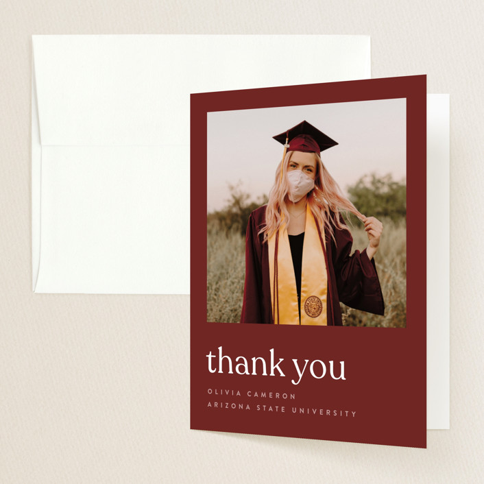 """longest ever"" - Funny, Modern Graduation Thank You Cards in Mustard by JoAnn Jinks."