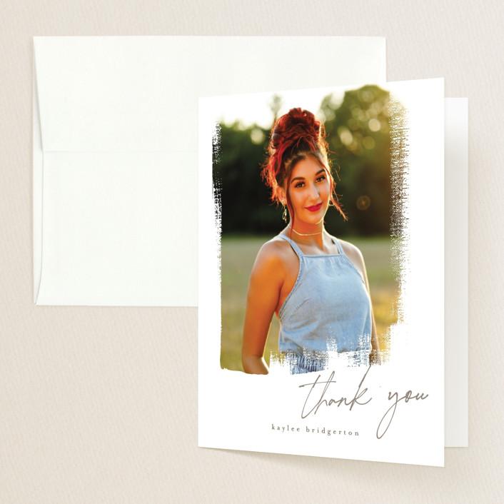 """Lotus"" - Modern Graduation Thank You Cards in Silk by chocomocacino."