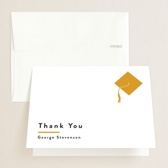"""""""Simple Pride"""" - Graduation Thank You Cards in Mustard by Inkblot Design."""