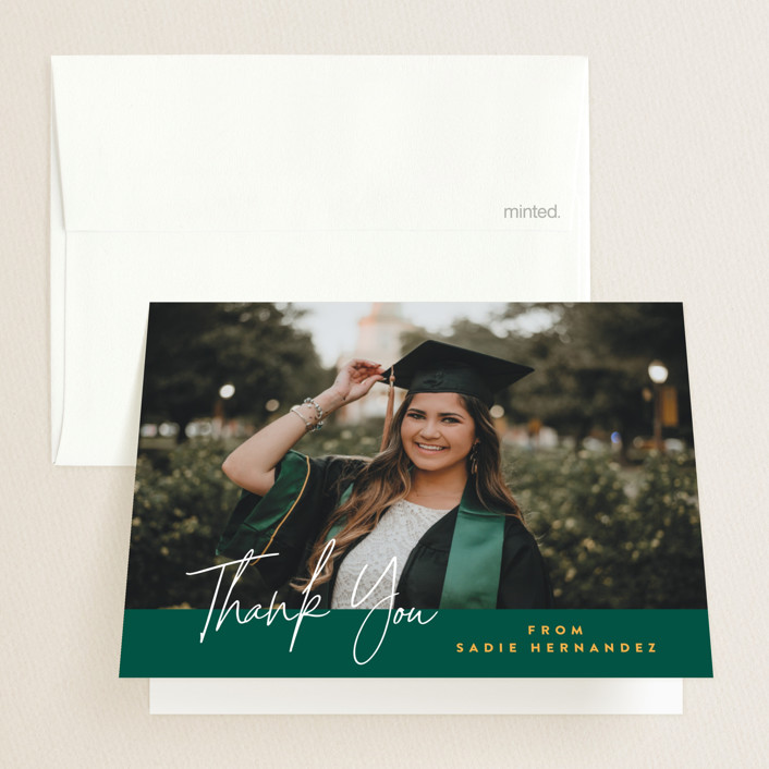 """The School Colors"" - Graduation Thank You Cards in Emerald by Owl and Toad."