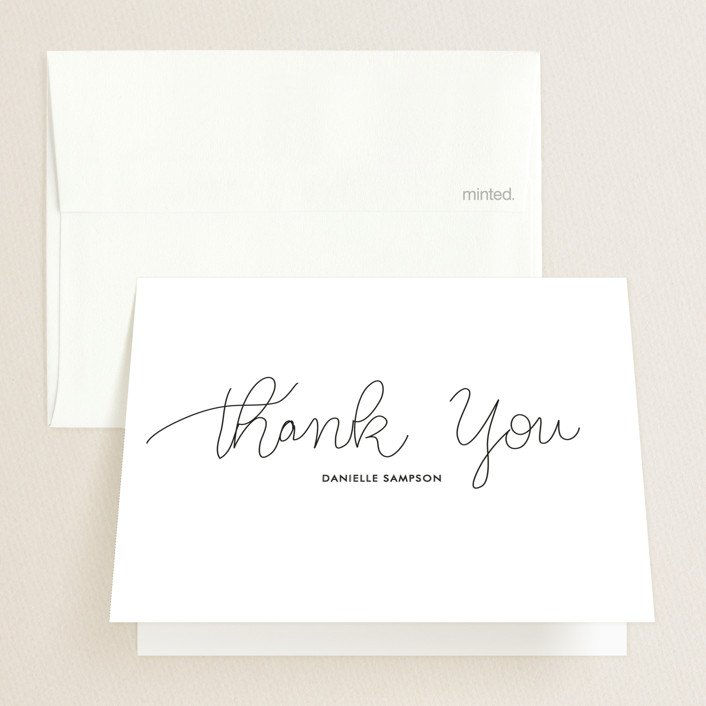 """""""Handwritten Year"""" - Graduation Thank You Cards in Graphite by Bethany Anderson."""