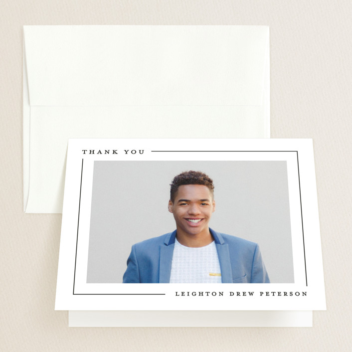 """""""Simply Serene"""" - Graduation Thank You Cards in Onyx by Lauren Chism."""