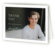 This is a white graduation thank you card by Carolyn MacLaren called Album Cover with standard printing on strathmore in standard.