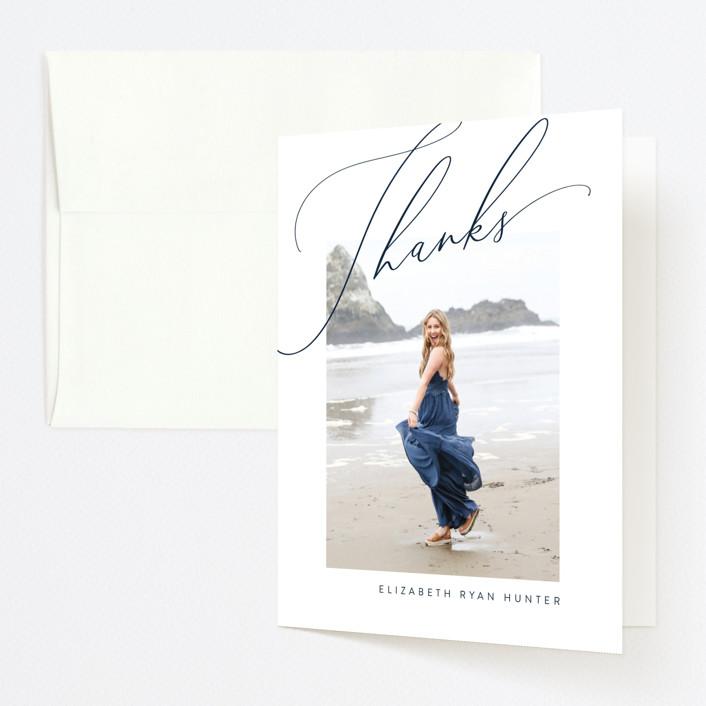 """Savvy"" - Graduation Thank You Cards in Midnight by Nicoletta Savod."