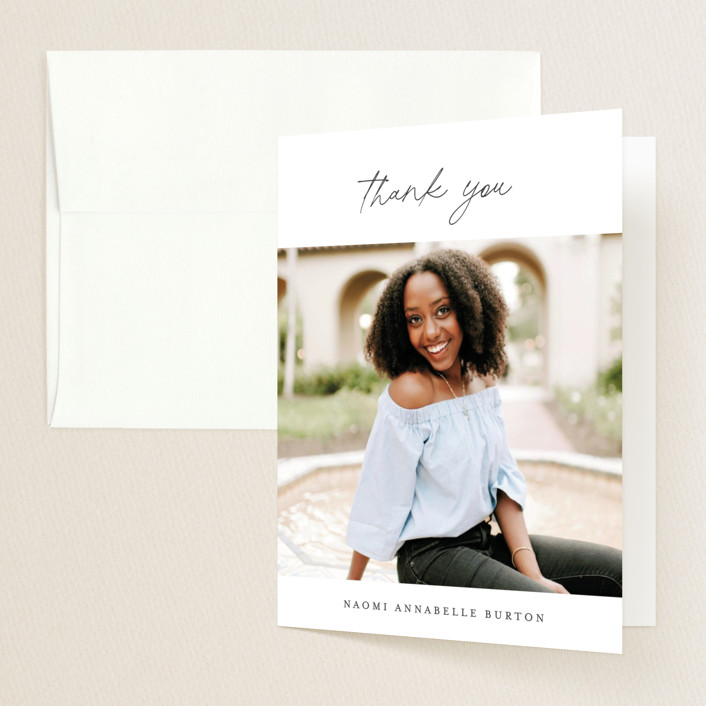 """""""She Persisted"""" - Graduation Thank You Cards in Onyx by Ashley Rosenbaum."""