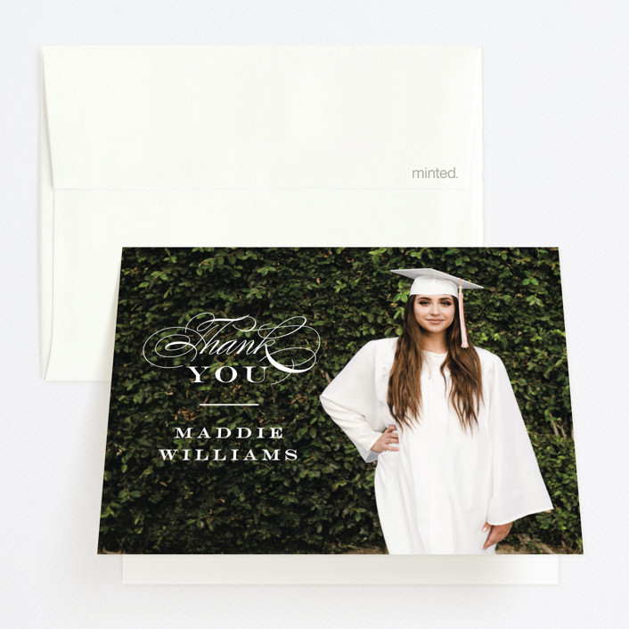 """""""Stacked class"""" - Graduation Thank You Cards in Snow by Jennifer Wick."""
