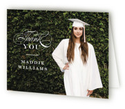 This is a white graduation thank you card by Jennifer Wick called Stacked class with standard printing on strathmore in standard.