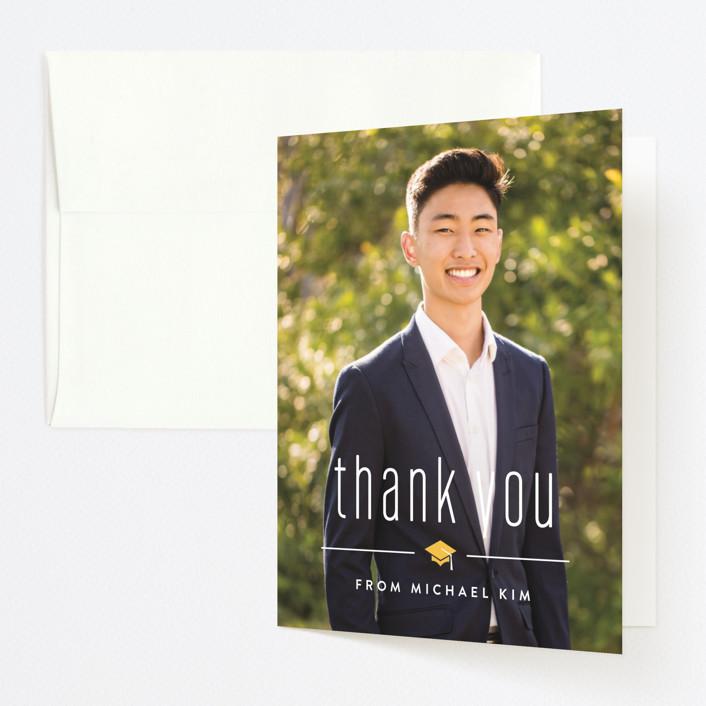 """""""A Big Year"""" - Graduation Thank You Cards in Marigold by Carolyn MacLaren."""