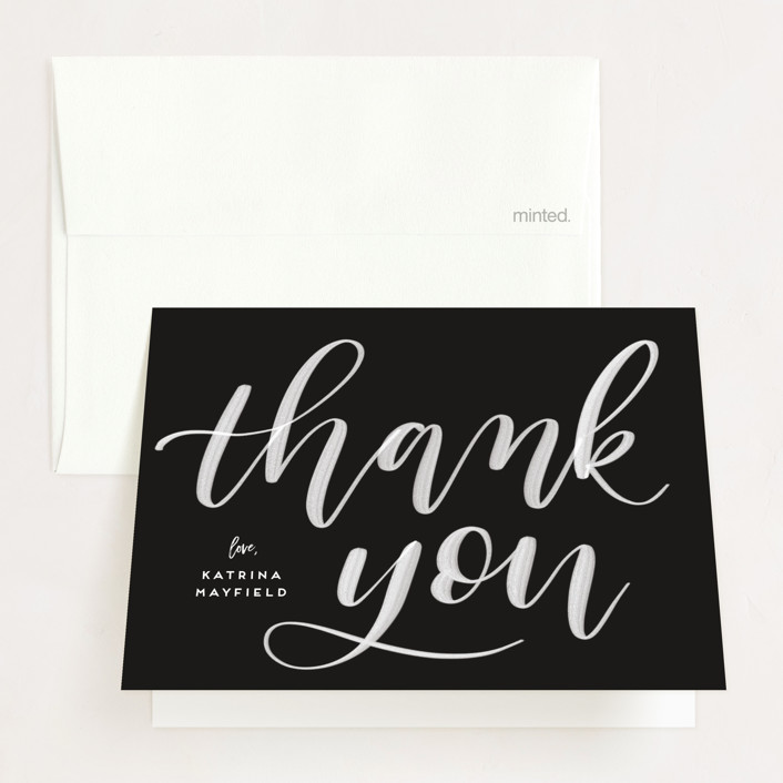"""""""Accomplished"""" - Graduation Thank You Cards in Midnight by Leah Bisch."""