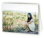 This is a white graduation thank you card by Phrosne Ras called My Name Is with standard printing on strathmore in standard.