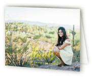 This is a yellow graduation thank you card by Phrosne Ras called My Name Is with standard printing on strathmore in standard.