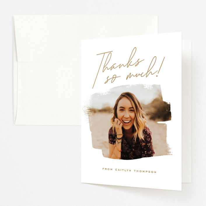 """""""Brushed Photo"""" - Graduation Thank You Cards in Golden by Oscar & Emma."""