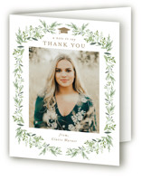 This is a brown graduation thank you card by Jennifer Postorino called Laurel Essence with standard printing on strathmore in standard.