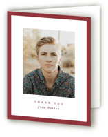This is a red graduation thank you card by Lea Delaveris called Wrapped with standard printing on strathmore in standard.