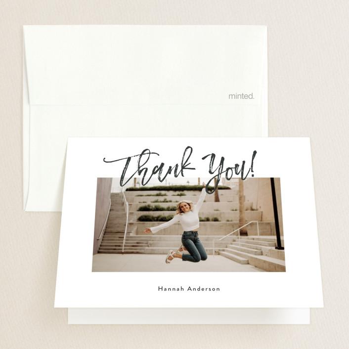 """Let's Celebrate!"" - Graduation Thank You Cards in Slate by Kasia Labocki."