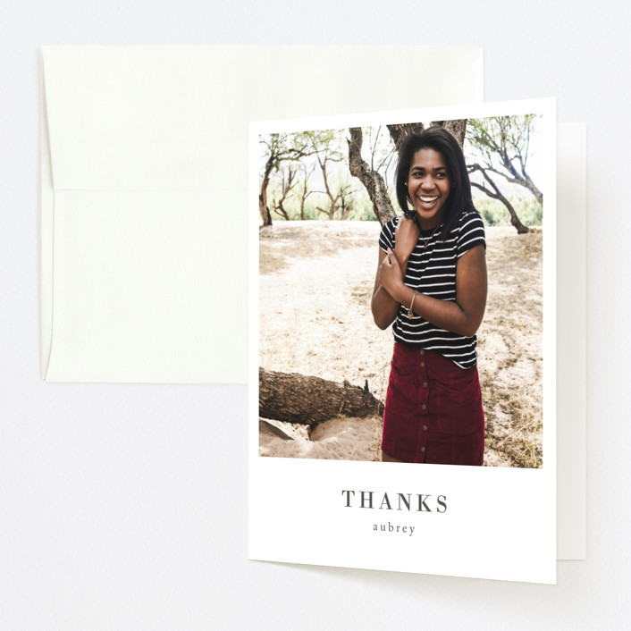 """Stacked Banner"" - Graduation Thank You Cards in Cotton by Amy Kross."