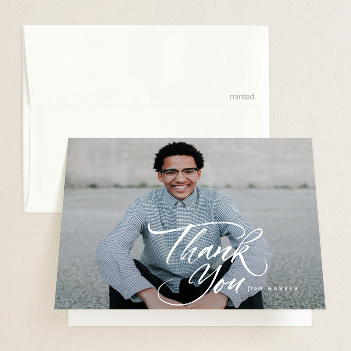 """A Bold Name"" - Graduation Thank You Cards in Cloud by fatfatin."