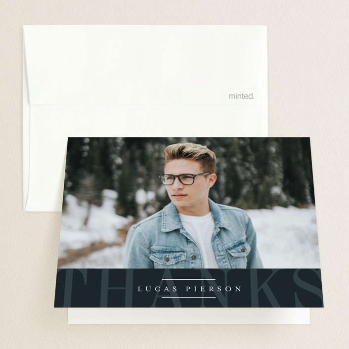 """""""Striking Year"""" - Modern Graduation Thank You Cards in Marine by Jessica Williams."""