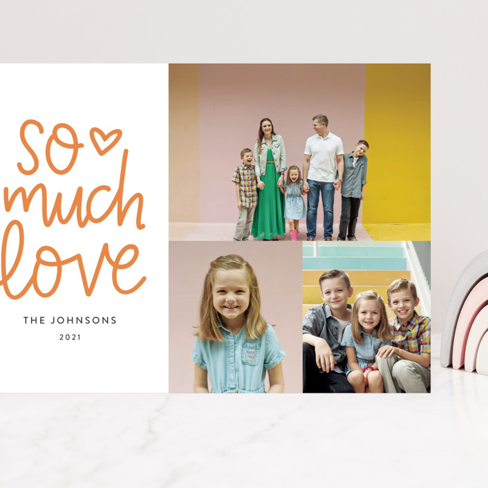 """""""So Much Love Hand Lettered"""" - Whimsical & Funny, Preppy Grand Valentine's Day Cards in Clementine by Alicia Schultz."""