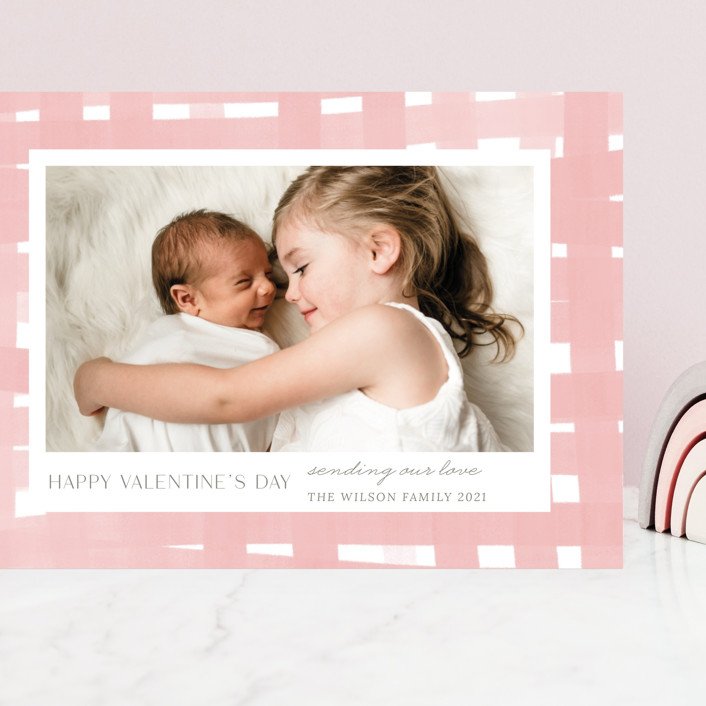 """Soft plaid"" - Preppy Grand Valentine's Day Cards in Powder Pink by Yaling Hou Suzuki."