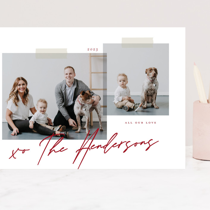"""""""Snapshots"""" - Preppy Grand Valentine's Day Cards in Berry by That Girl Press."""