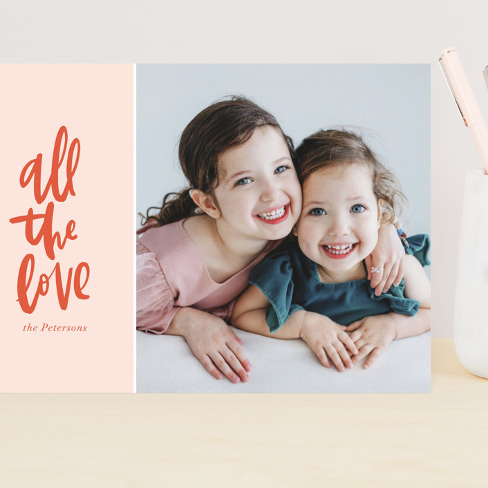 """""""All the Love"""" - Preppy Grand Valentine's Day Cards in Blush by Vine and Thistle."""