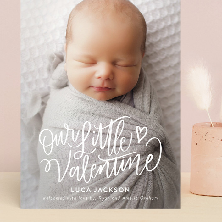 """""""Lettered Little Valentine"""" - Whimsical & Funny Grand Valentine's Day Cards in Sugar by Nicole Barreto."""
