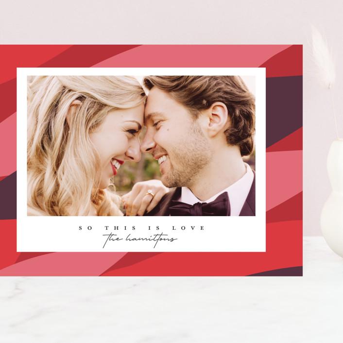 """Folium"" - Modern Grand Valentine's Day Cards in Strawberry by Christie Garcia."