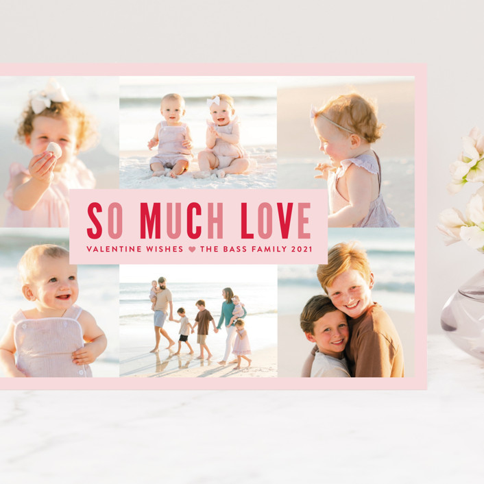 """""""So Much Love Collage"""" - Preppy Grand Valentine's Day Cards in Rose by Melissa Egan of Pistols."""