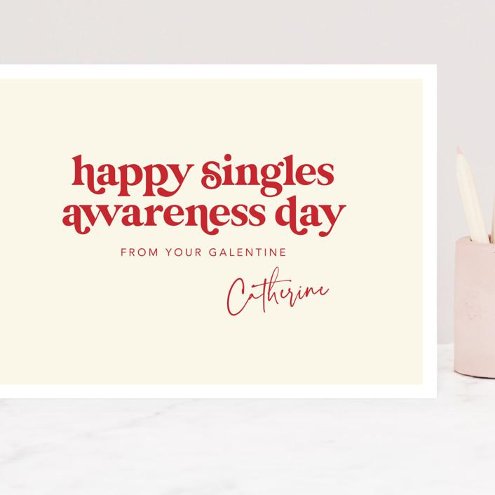 """Happy Singles Awareness"" - Funny Grand Valentine's Day Cards in Vanilla by Caitlin Considine."