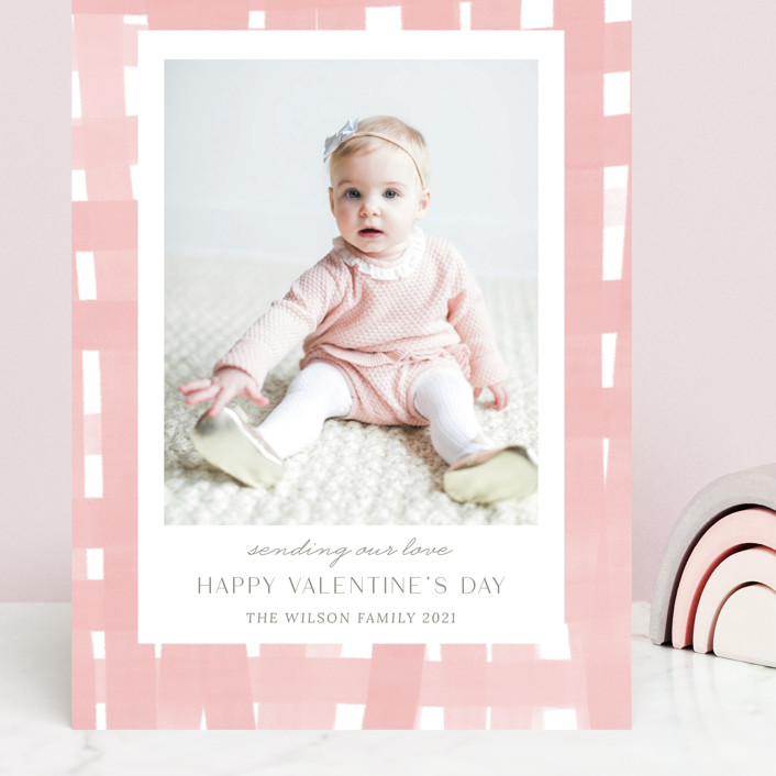 """Soft plaid"" - Preppy Grand Valentine's Day Cards in Powder Pink by Yaling Hou Suzuki."